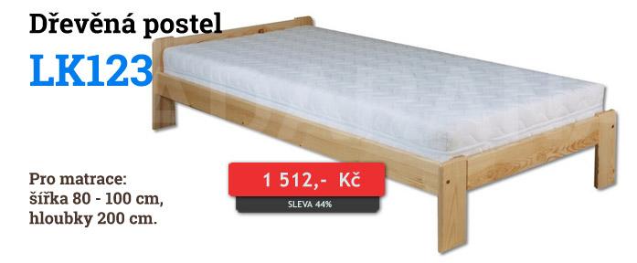 Dřevěná postel LK123 jednolůžko - borovice
