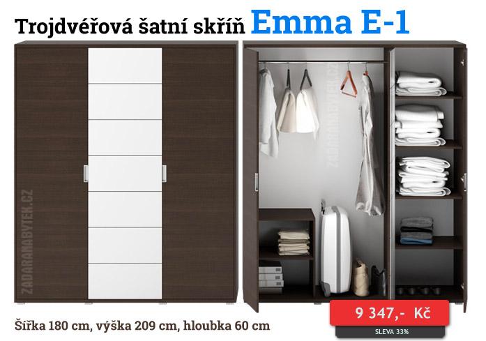 Trojdvéřová šatní skříň Emma E-1
