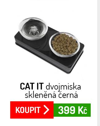 Cat It dvojmiska skleněná černá