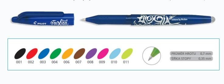 Roller Pilot 2064 FriXion 07 - výběr barev