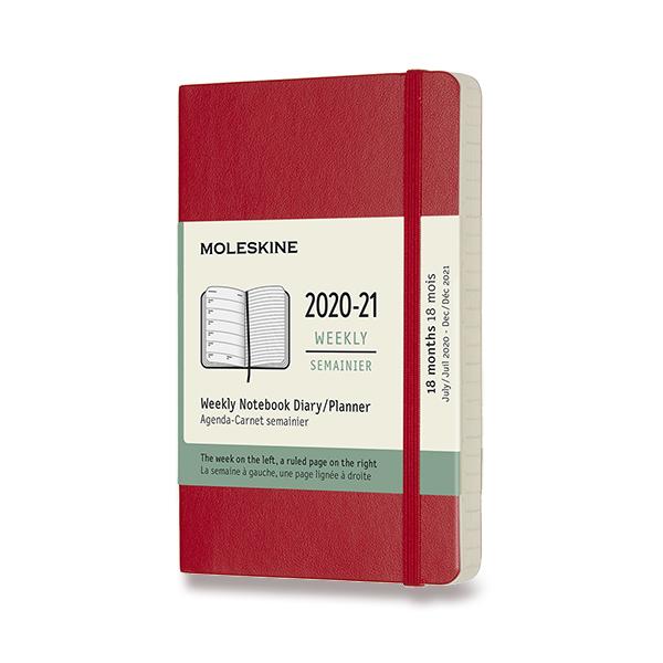 červený 18měsíční diář Moleskine 2020-21