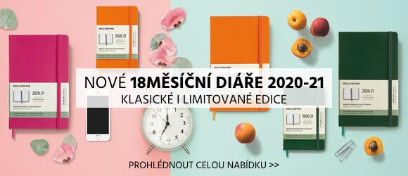 jednobarevné 18měsíční diáře Moleskine 2020-2021