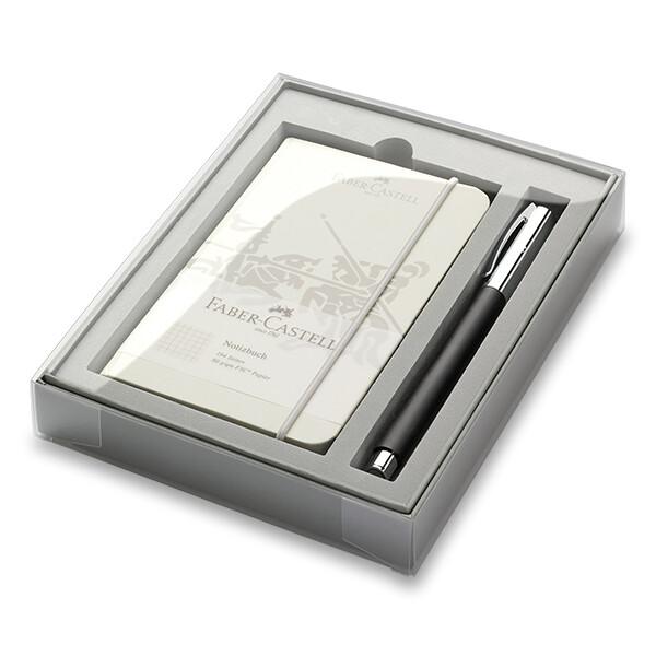 černo-stříbrný roller Faber-Castell v dárkové kazetě se zápisníkem