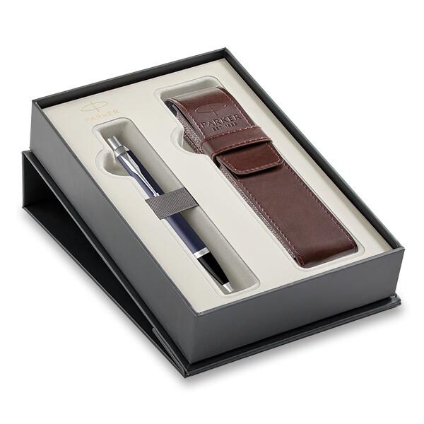 tmavě modrá propiska Parker v dárkové kazetě s pouzdrem na pero
