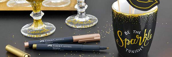 popisovače Faber-Castell Metallics v metalických barvách