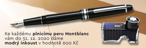 černé plnicí pero Montblanc s modrým inkoustem
