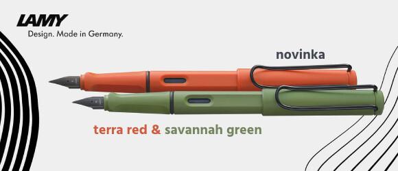 cihlové a zelené plnicí pero LAMY safari ze speciální edice origin