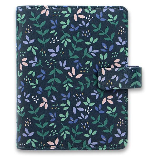 černý diář Filofax Garden Dusk s barevnými florálními motivy