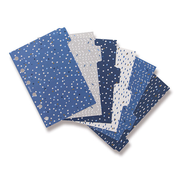Rozřazovače Filofax v modrých a jemných šedých tónech